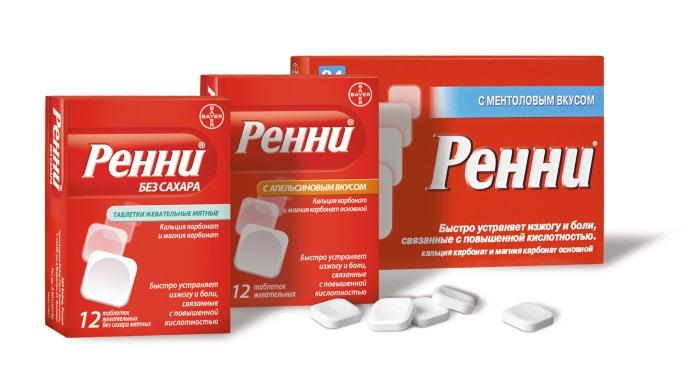 Жевательные таблетки Ренни